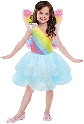 Fancy Me Mädchen Offiziell Barbie Rainbow Fee Tutu Kleid + Wings magische Karneval-Party Kostüm Kleid Outfit - 3-5 Years
