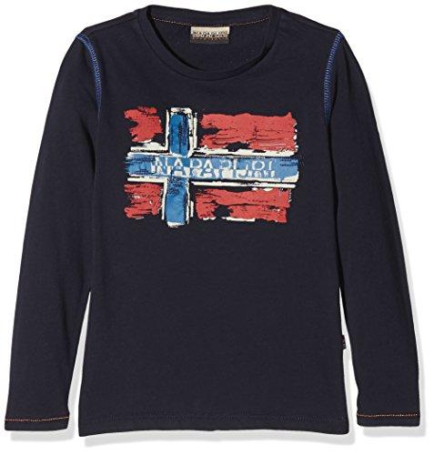 Napapijri Jungen T-Shirt K Sachs LS, Blau (Blu Marine 176), 128 (Herstellergröße: 08) (Langarm-t-shirt 08)