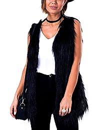 iBaste Donna Tenere Caldo Gilet Pelliccia Sintetica Senza Maniche Nero Faux Fur Vest Inverno Cappotto