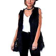 iBaste Chaleco de Pelo Mujer Modelo Medio y Largo Sin Cuello Sobretodo  Chaqueta de Pelos Negro 559289a690fe