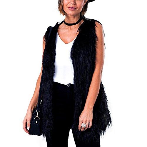 iBaste 2017 nouvelles femmes sexy fourrure couleur unie automne hiver moderne col V gilet veste sans manches en fausse fourrure veste élégante