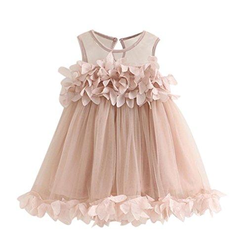 Kleider Mädchen, GJKK Süss Baby Mädchen Prinzessin Kleid Pageant Ärmellos Kleider Spitzenweste Blütenblatt Kleid Partyskleid Festlich Tüll Sommer Kleid Minikleid Abendkleid (Rosa, 100CM) -