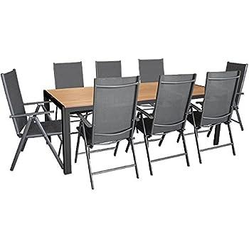 9tlg. Gartengarnitur, Aluminium Gartentisch mit Polywood-Tischplatte 205x90cm + 8x Aluminium-Hochlehner mit 2x2 Textilenbespannung, 7-fach verstellbar, klappbar, anthrazit / Sitzgruppe Sitzgarnitur Gartenmöbel Terrassenmöbel