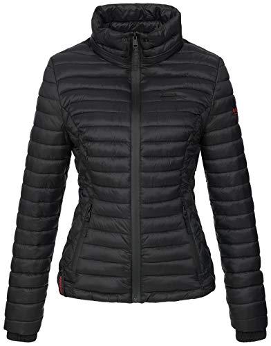Marikoo Damen Jacke Steppjacke Übergangsjacke mit Kapuze gesteppt B600 [B600-Samt-Schwarz-Gr.XS] - 3