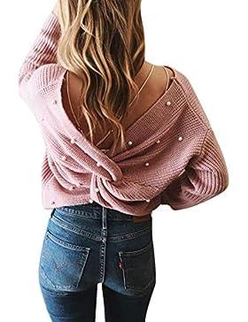Fanvans Mujeres Sin Espalda Suéter De Manga Larga Irregular Jersey De Punto