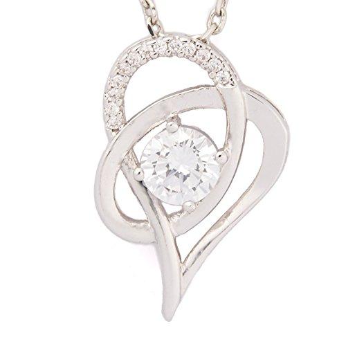 SJS Collection Herzen Verflochten Rhodinierte Sterlingsilber Halskette mit 14 AAA Zirkonia Diamanten, 45 cm, anpassbare Ankerkette mit Karabinerverschluss, in einer exquisiten Schmuck Geschenkbox (Mädchen Nordstrom)