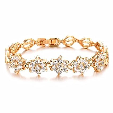 Ouneed® Femmes Zircon Beaux diamant plaqué or 18k blé main Trinkets Bracelet