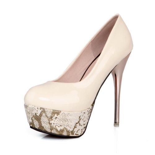 Adee Mädchen Brautschmuck Komfort Patent Leder Pumpen Schuhe Beige