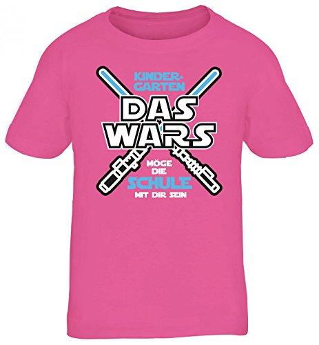 Einschulungsgeschenk Erstklässler Schulkind Kinder T-Shirt Laserschwert - Kindergarten Das Wars, Größe: 110/116,Pink