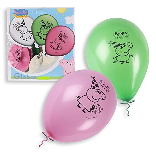 ALMACENESADAN 0680, Pack 16 Globos Peppa Pig; para Fiestas y cumpleaños. Ideal para Decorar Tus Fiestas.