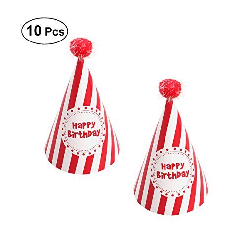 10pcs Party Hats Striped Paper Cone Hat with Pom Poms for Birthday Party Decoration (Red)