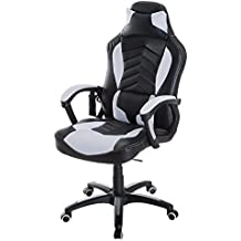 Homcom Luxe Fauteuil Chaise De Bureau Gamer Fonction Massage Chauffage Integree Dossier Inclinable Blanc