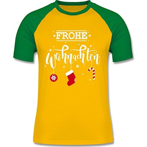 Weihnachten & Silvester - Frohe Weihnachten Lettering - zweifarbiges Baseballshirt für Männer Gelb/Grün
