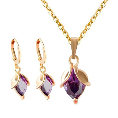 HSNZZPP Halskette Ohrringe Set Mit Klassischen Blumen Gesetzt Knospen Aus Gold - überzog Gesetzten Schmuck,PUR-OneSize