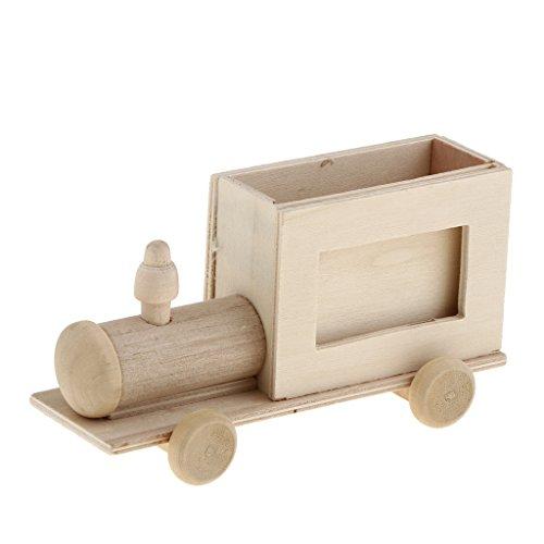 Petsola cornici foto di legno abbellimento portapenne scrivania organizzatore penna - treno 14x4.3x6.1cm