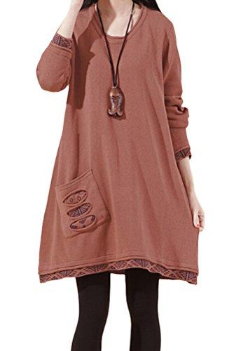 Voguees Damen Langarm Tops Strickwaren Pullover Art 3-Ziegelrot