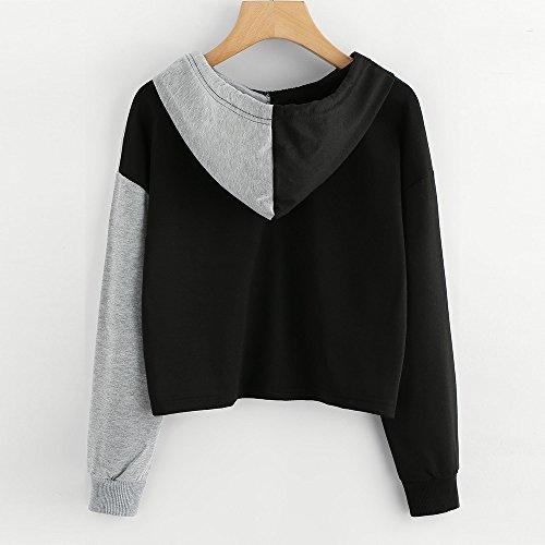 Youngii Manches Longues Mode Femmes Mesdames Raccord Chemisier Tops VêTements T - Shirt Gris