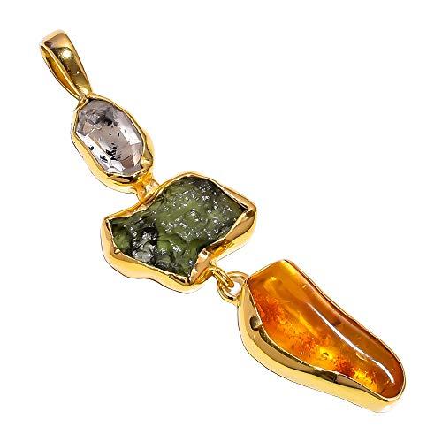 925Sterling Silber Anhänger, Herkimer Diamant roh Moldavit vergoldet Frauen Schmuck rsgp33