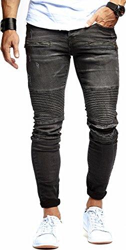 LEIF NELSON Herren Jeanshose Biker Jeans gesteppt Hose Stretch Schwarz Denim Slim Fit LN9915SC; W32L32, Blau