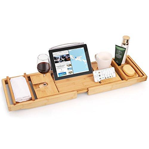 amzdeal–Bañera, 75–110cm Ajustable Bandeja de baño de 100% bambú, Multifuncional bañera Estante telescópico de diseño con Revestimiento Resistente al Agua