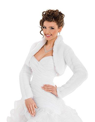 Bolerojäckchen Braut Jacke Bolero aus künstlichem Fuchspelz mit voll länger Ärmel mit Kragen, volles Futter