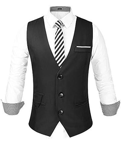 Hasuit Homme Gilet Costume Veste Slim Fit Sans Manches Business Mariage Taille S-XXL