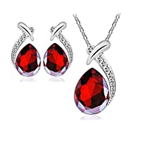 Luxury Unique Jewelry Set For Women - 18K White Gold Plated Crystal Necklace & Earrings Set - Valentine's Gift (Red)