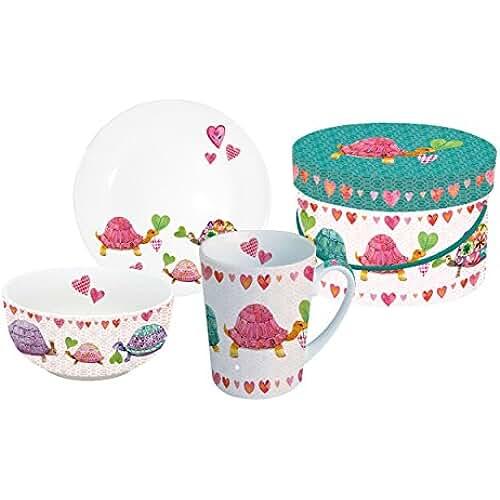 figuras kawaii porcelana fria Tortugas Enamoradas. Juego de desayuno, Taza, Cuenco, Plato en su casa decorada. 250ml, Porcelana fría. Multicolor