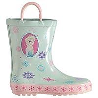 Disney Frozen Wellington Boots Infants Girls Green/Pink Wellies Gum Boot