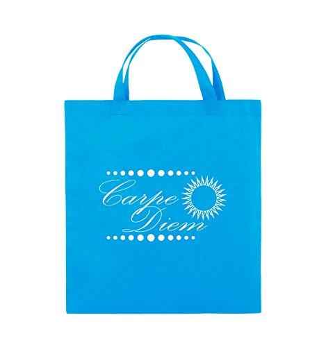 Comedy Bags - Carpe Diem - Sonne - Jutebeutel - kurze Henkel - 38x42cm - Farbe: Schwarz / Silber Hellblau / Weiss