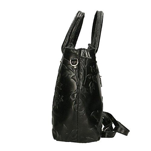 Chicca Borse Handbag Borsa a Mano da Donna in Vera Pelle Made in Italy - 35x28x11 Cm Nero