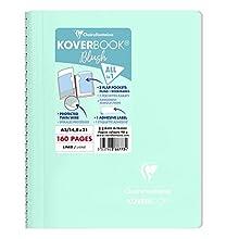 Clairefontaine 366773C - Quaderno a spirale Koverbook Blush, 160 pagine staccabili 14, 8 x 21 cm, 90 g, a righe, copertina in polipropilene opaca, menta ad acqua/rosa polvere