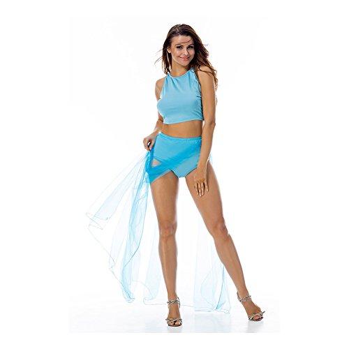 CINDY LOVER Damen Kleid, blau (Neck Sleeve Pleated Top Scoop Short)