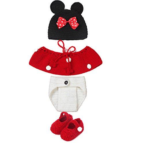 Neugeborenes Mädchen-Jungen-Baby-Fotografie Prop Crochet Strickhandgemachte Minnie Mouse Hut Cape Kostüm (Rote)