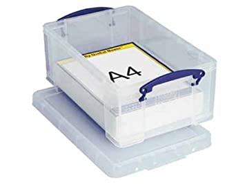 really useful storage box plastic lightweight robust stackable 9 litre clear ref 9c