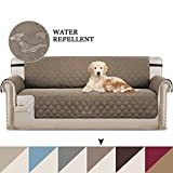 BellaHills Reversible Furniture Protector, Microfiber Soft and Water-repellent Protector/Slipcovers Seat Width to 78', Improved Anti-Slip with Elastic Straps and Foams (Oversized Sofa: Taupe/Beige)