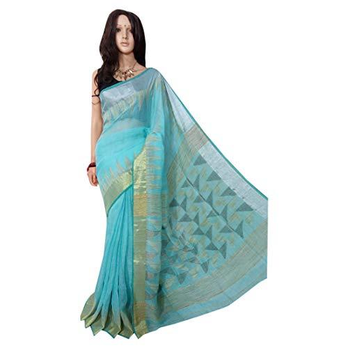 ETHNIC EMPORIUM Indisches ethnisches Leinen Jamdani Saree Sari SkyBlue Colored Fancy Damenkleid 100a -