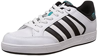 adidas Originals Men's Varial Low White, Black and Green Leather Skateboarding Shoes - 9 UK
