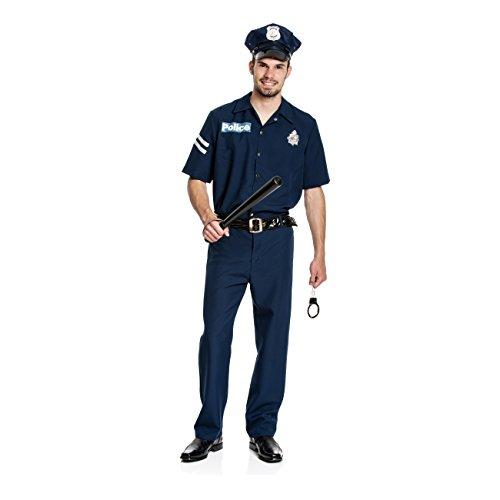 Kostümplanet® Polizei Kostüm Herren + Mütze Polizeikostüm Herrenkostüm Polizist Größe (Herren Für Kostüme Polizei)