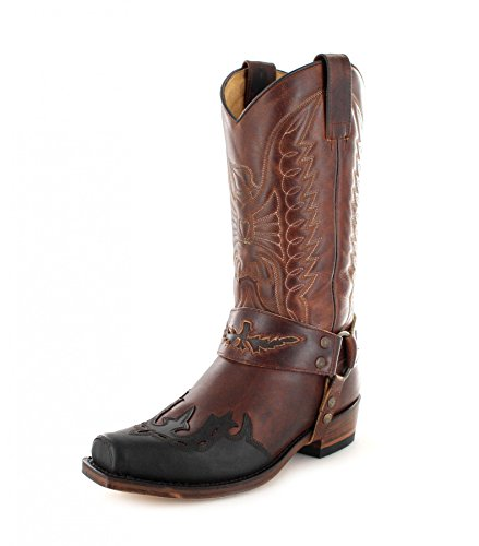 Sendra Boots 7862 Chocolate Marron Tang Lederstiefel für Damen und Herren Braun Bikerstiefel, Groesse:40