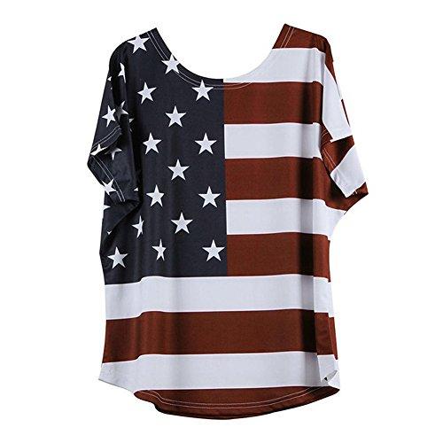 Stretch-streifen-polo-tee (Zegeey Damen Oberteil Lose Bluse Shirt T-Shirt Rundhals Ausschnitt ÜBergrößE Sommer Stern Streifen Kurzarm Tops Tee(Rot,EU-52/CN-2XL))