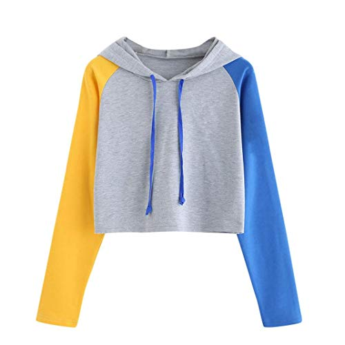 Lazzboy Womens Casual Long Sleeve Contract Colour Sport Tops Blouse Hooded Pullover Hoodie Sweatshirt