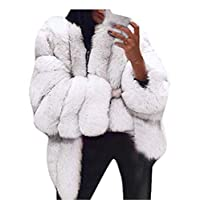 Women Plus Size Short Faux Fur Coat Warm Furry Jacket Long Sleeve Outerwear
