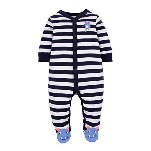 CARETOO Unisex Baby Schlafstrampler Bärchen, Baumwolle Pyjamas Cartoon Overalls mit 0-12 Monate