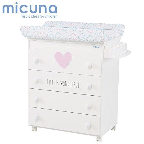 Micuna - Mueble bañera/cambiador wonderful corazones blanco/rosa