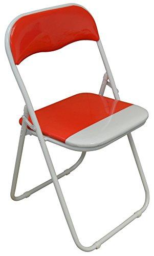 Silla plegable de escritoria acolchado, rojo y blanco