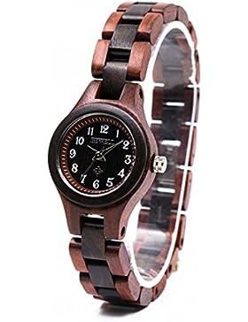 Bewell W123A Damenuhr Hölzerne Armbanduhr Mode Quarzwerk Analog Uhr Casual Stil