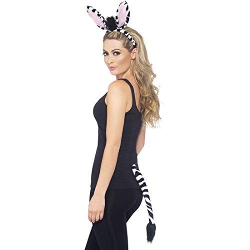 Amakando Zebra Kostüm Set Zebrakostüm Ohren und Schwanz Zebraohren Zebraschwanz Tierkostüm Zoo Tier ()