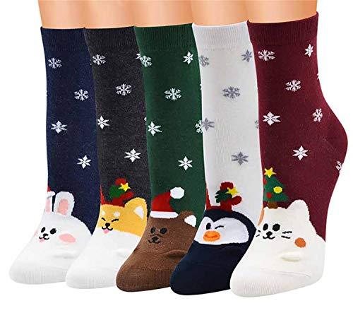 Hishiny Damen Mädchen Socken Stricken Socken Strümpfe Baumwolle Nette Cartoon Gemustert Mädchensocken - Elastisch Sport Socken Füßlinge Kurzsocken Damensocken, 5 Paar. (Kaninchen)
