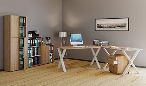 VCM Eckschreibtisch, Schreibtisch, Büromöbel, Computertisch, Winkeltisch, Tisch, Büro, Lona 190x190x50: Sonoma-Eiche -